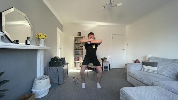 Jordan demonstrating full body circuit